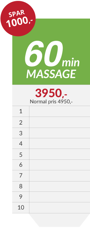 10x massage klippekort